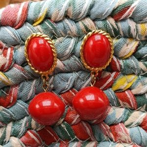 Vintage doorknocker red acrylic abstract oval gold